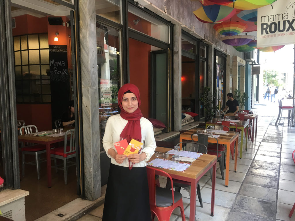 restaurant-athens-refugee-food-festival-cheffe-Roaa-at-Mama-Roux-restaurant